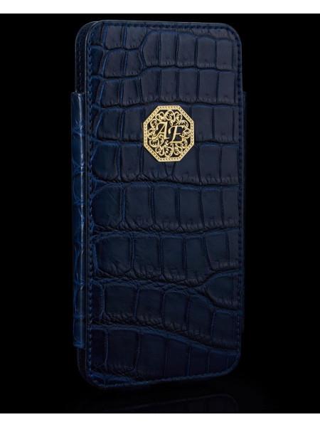 Премиальный, дорогой чехол карман из крокодиловой кожи с инициалами из позолоты, Mobcase 891