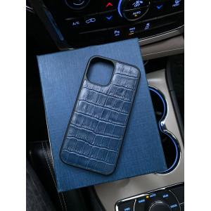 Противоударный кожаный синий чехол Mobcase 1281