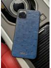 Синий чехол из кожи страуса с инициалами для iPhone 11 / Pro / Max, Mobcase 951