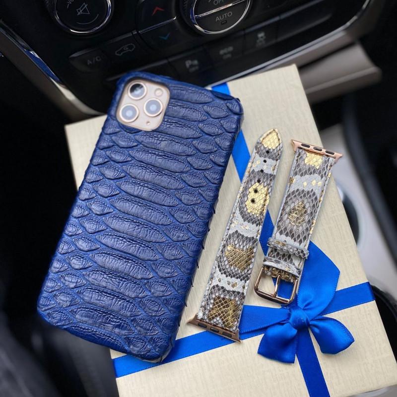 Синий, кожаный чехол из кожи питона, Mobcase 294