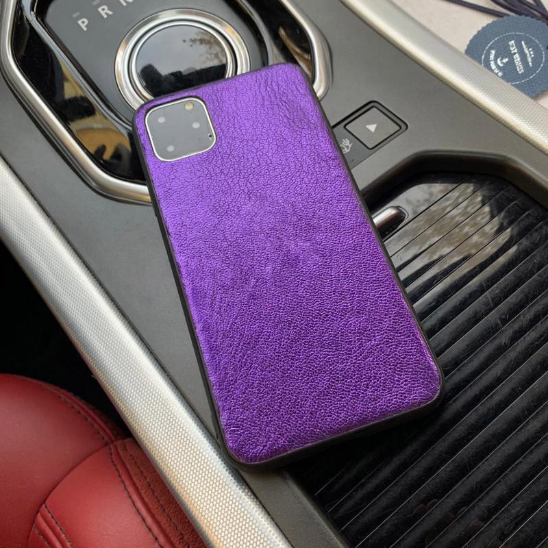 Сиреневый чехол из натуральной, телячьей кожи для iPhone 11 / Pro / Max, Mobcase 956