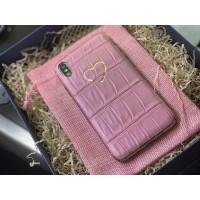Яркий кожаный чехол розового цвета с золотым сердцем, Mobcase 963