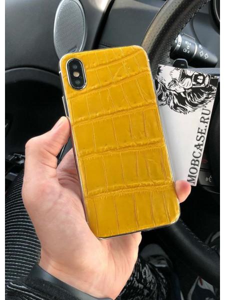 Жёлтый, кожаный чехол с выделкой под крокодила Mobcase 823 для iPhone 7, 8, 7 Plus, 8 Plus, X, XS, XSMAX, XR
