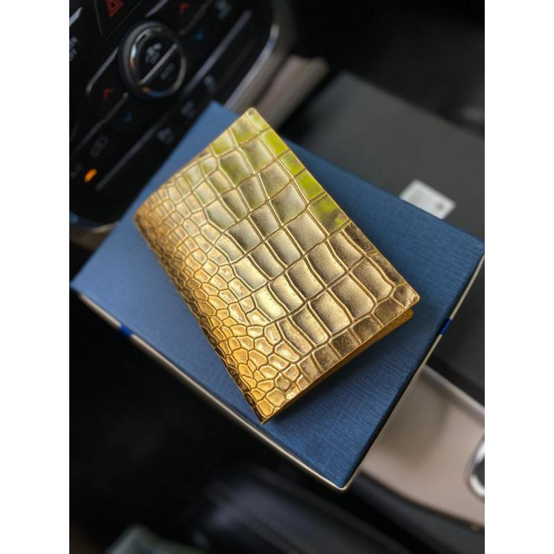 Золотая, кожаная обложка на паспорт ручной работы Mobcase 1183