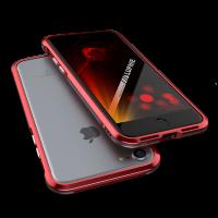 Чехол бампер металлический Luphie Bicolor Красный на iPhone 7 Plus — Прочный