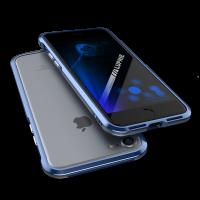 Чехол бампер металлический Luphie Bicolor Синий на iPhone 7 Plus — Прочный