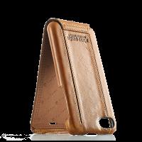 Чехол кожаный Pierre Cardin, flip, коричневый, на iPhone 7