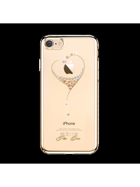 Чехол накладка Kingxbar Sky Gold Сердце на iPhone 7 — Swarovski