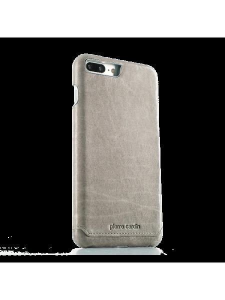 Чехол накладка Pierre Cardin Серая на iPhone 7 Plus — Кожаная