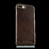 Чехол накладка Pierre Cardin Тёмно-коричневая на iPhone 7 plus — Кожаная