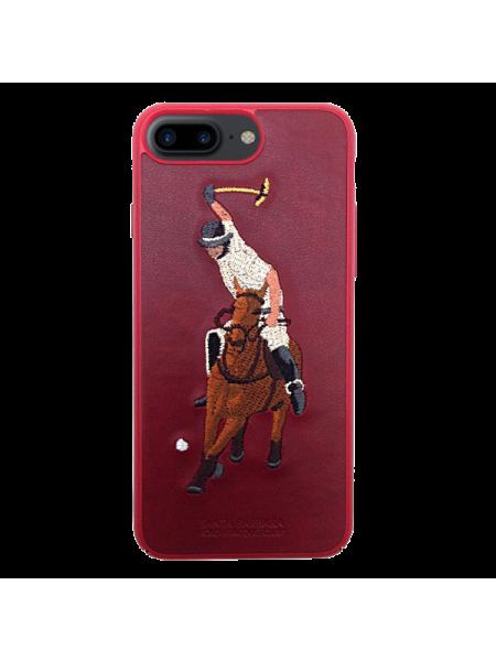Чехол накладка POLO RACQUET CLUB Jockey Красная на iPhone 7 Plus — Кожаная