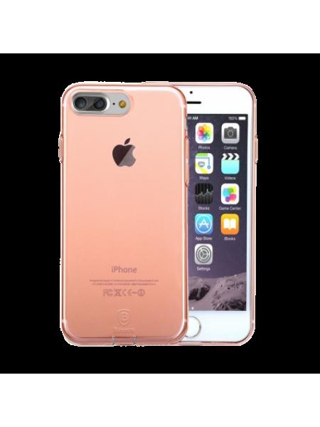 Чехол накладка силиконовая Baseus Simple Розовая на iPhone 7 Plus — Тонкая