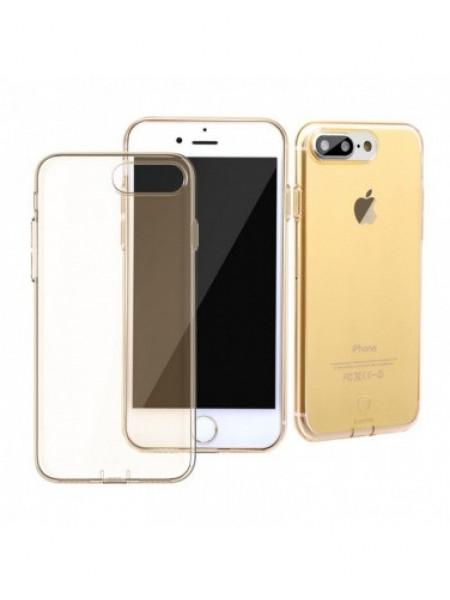 Чехол накладка силиконовая Baseus Simple Золотая на iPhone 7 Plus — Тонкая, прозрачная