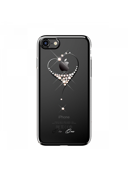 Чехол накладка, чёрное сердце, на iPhone 7 — Кристаллы Swarovski