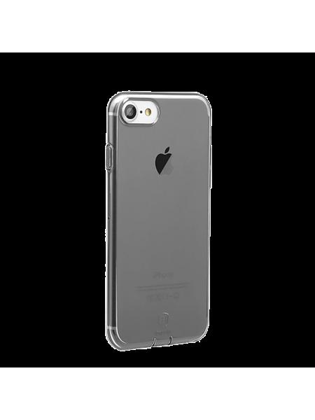 Чехол силиконовый Baseus тонкий чёрный на iPhone 7 — Прозрачный