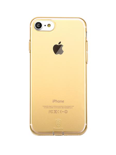 Чехол силиконовый Baseus тонкий золотой на iPhone 7 — Прозрачный