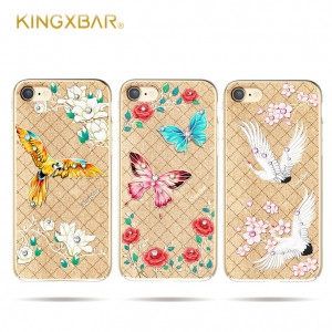Чехол накладка Kingxbar, Fairy Land, попугай, на iPhone 7 — Swarovski