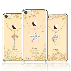 Чехол накладка Kingxbar, Sky Gold, Звезда, на iPhone 7 — Swarovski