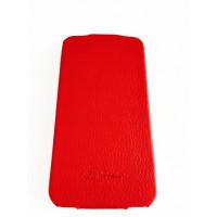 Чехол кожаный, раскладушка, красный Mobcase на iPhone 4