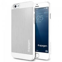 Чехол накладка SPIGEN Aluminum Fit серебристый для iPhone 6, 6s
