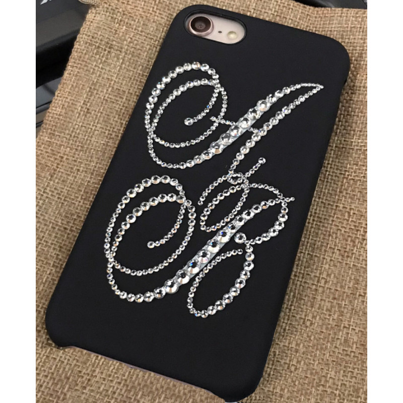 Эксклюзивный чехол Gera Black Lady, с инициалами из страз Luxe для iPhone 7 — Премиум под заказ