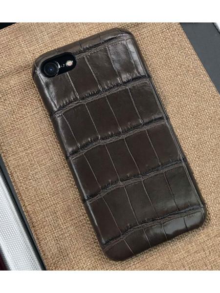 Эксклюзивный чехол Gera из крокодиловой кожи, коричневый для iPhone 7