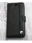 Чехол книжка Pierre Cardin, чёрный, кожаный для iPhone 7