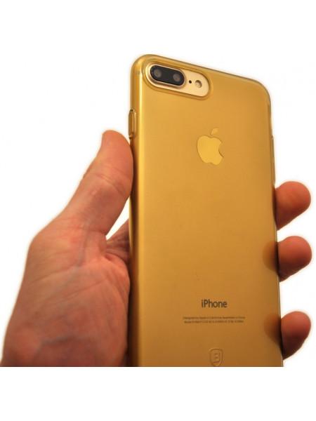 Чехол накладка силиконовая Baseus Simple золотая для iPhone 8 Plus