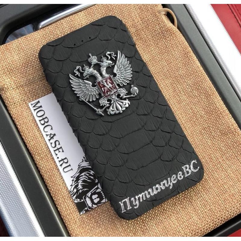 Именной, чёрный чехол книжка с металлическим гербом РФ Mobcase 563 для iPhone 7 Plus, 8 Plus
