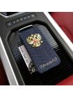 Именной чехол книжка с металлическим гербом РФ Mobcase 562 для iPhone 7 Plus, 8 Plus