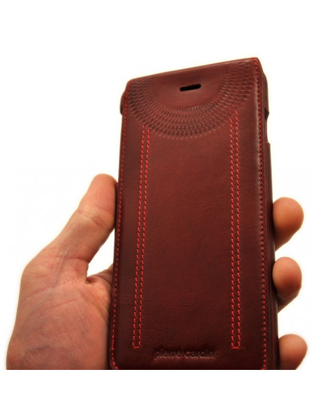 Чехол кожаный раскладушка Pierre Cardin flip красный для iPhone 8 plus