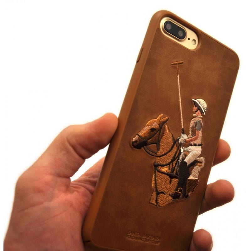 Чехол накладка POLO RACQUET CLUB Jockey коричневая для iPhone 8 Plus