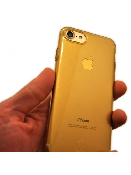 Чехол силиконовый Baseus тонкий, жёлтый для iPhone 8