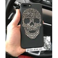 Эксклюзивный, чёрный чехол со стразами, череп Mobcase 558 для iPhone 7|8