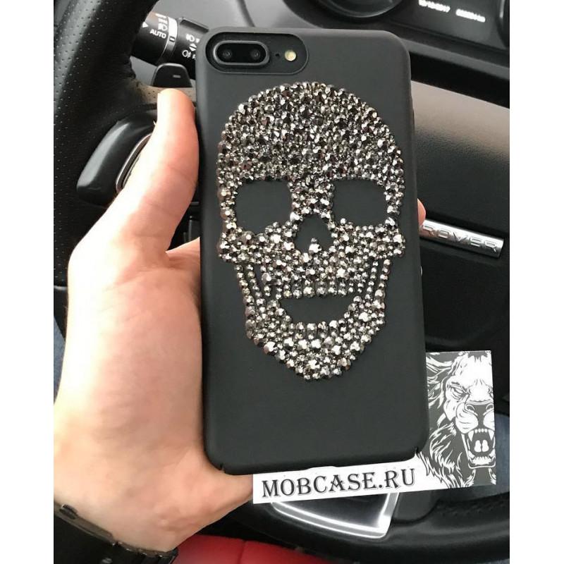 Премиум, чёрный чехол, со стразами, рисунком черепа Mobcase 559 для iPhone 7 Plus, 8 Plus