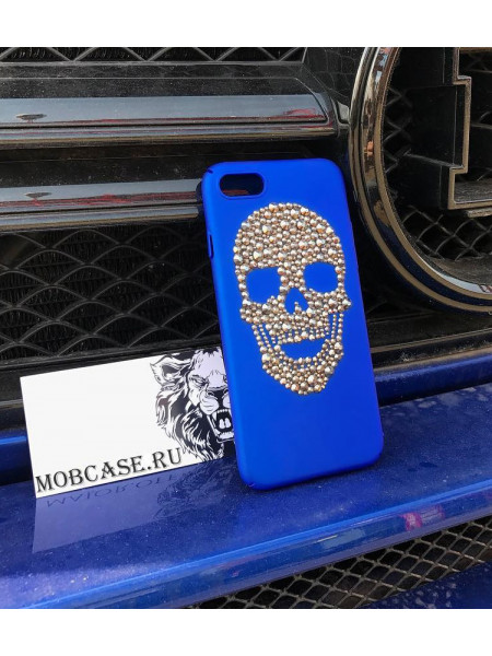 Чехол клип кейс, синий с рисунком Черепа из страз Mobcase 561 для iPhone 7, 8