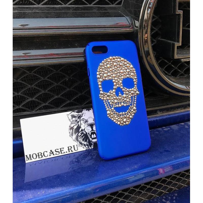 Премиум, синий чехол, с черепом из кристаллов Mobcase 560, для iPhone 7 Plus, 8 Plus