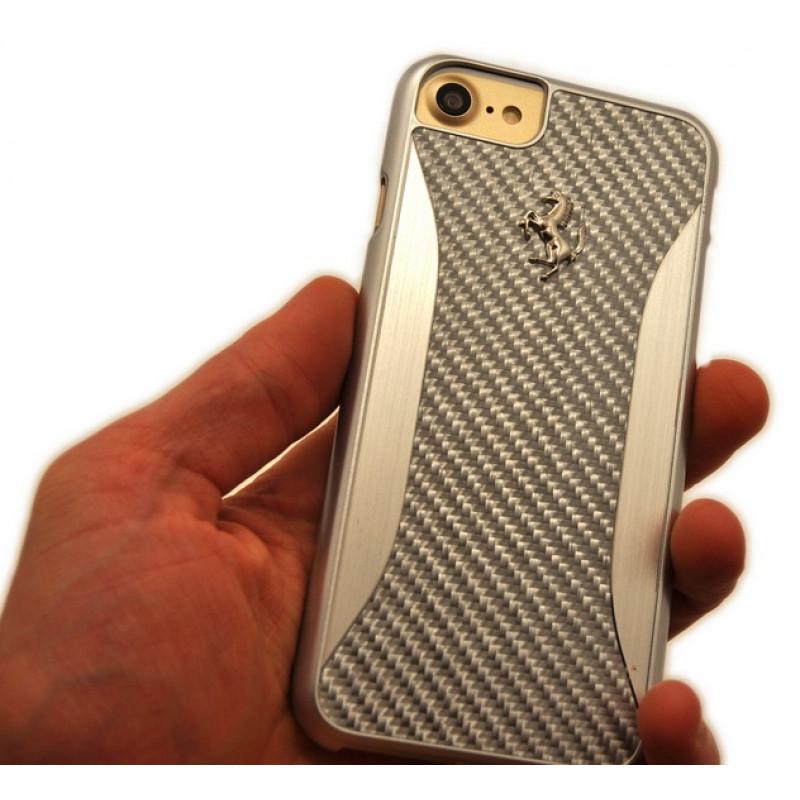 Чехол накладка Ferrari GT Experience Hard, карбон, серебро для iPhone 8