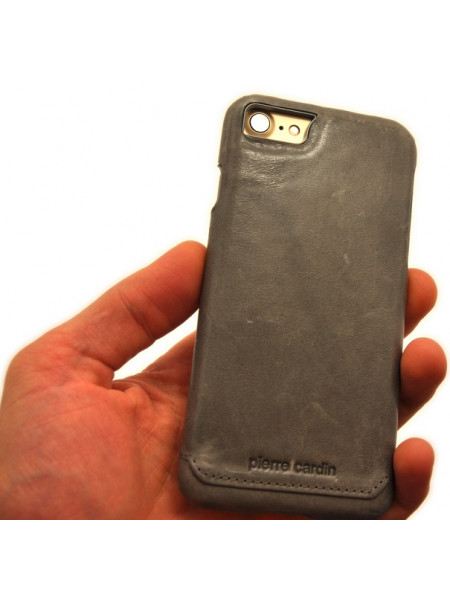 Чехол накладка кожаная Pierre Cardin серая для iPhone 8
