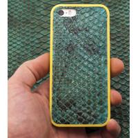 Чехол накладка Gera Хамелеон, кожаный, жёлтый, для iPhone SE