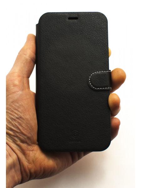 Чехол книжка Baseus, Simple Leather, чёрный, кожаный, для iPhone X