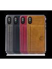 Чехол накладка из эко-кожи чёрная Rock Cane для iPhone X
