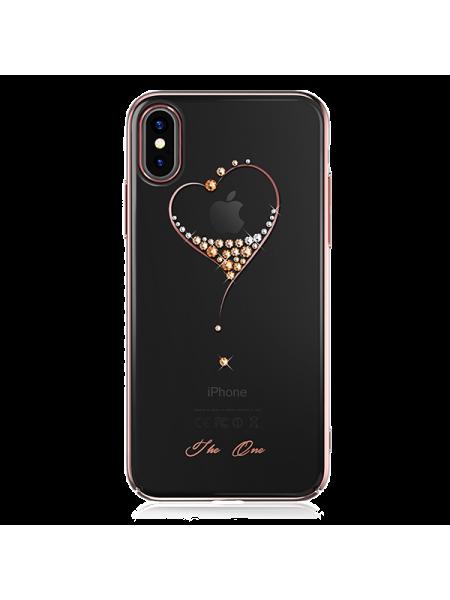 Чехол накладка розовое золотое сердце Kingxbar Wish Series для iPhone X