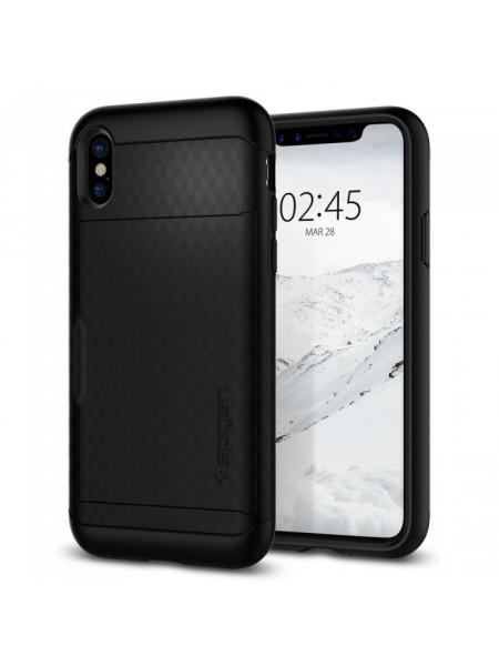 Чехол противоударный визитница чёрный SPIGEN Crystal Wallet для iPhone X