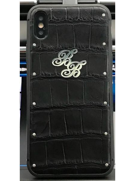 Эксклюзивный чехол, чёрный из кожи крокодила Mobcase 459,  для iPhone X, XS