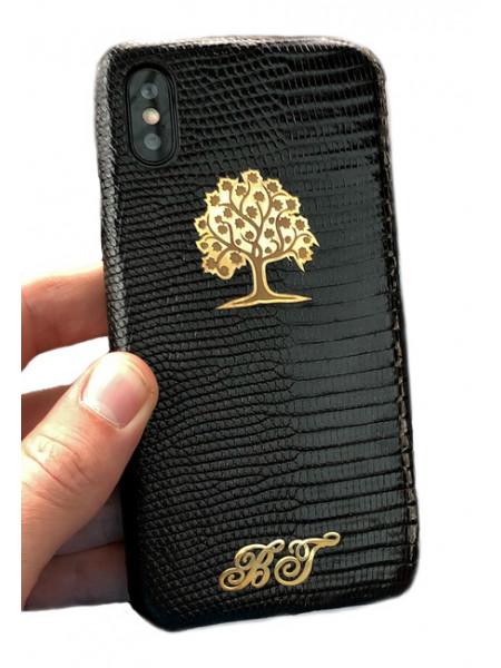 Эксклюзивный чехол Mobcase 468, кожаный, чёрный для iPhone X, XS