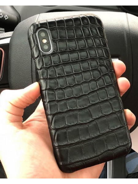 Эксклюзивный чехол Mobcase 469, кожа крокодила, чёрный для iPhone X, XS
