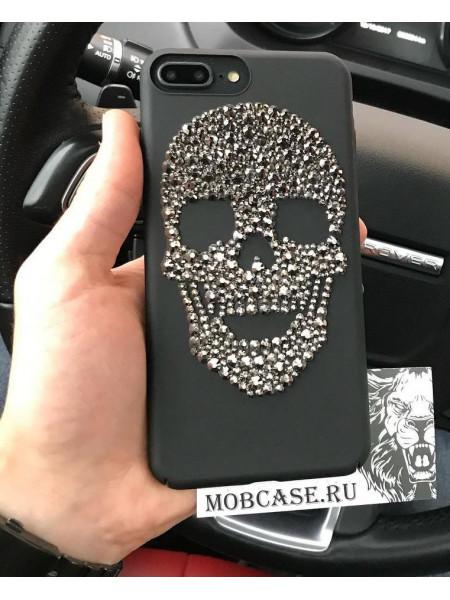 Эксклюзивный, чёрный чехол, с черепом из кристаллов Mobcase 532, для iPhone X, XS
