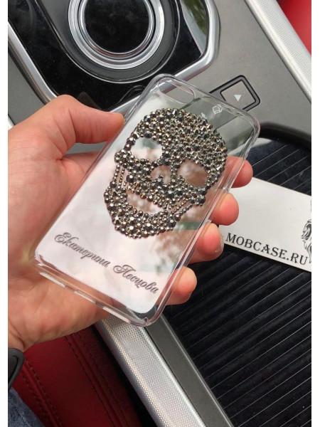 Эксклюзивный, именной чехол, с черепом из кристаллов Mobcase 535, для iPhone X, XS