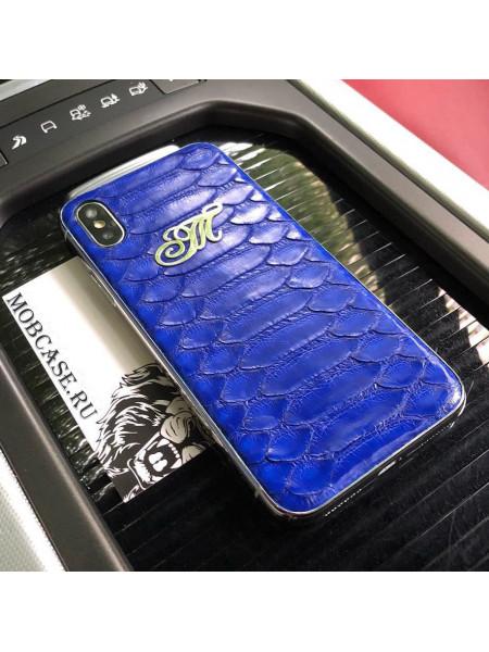 Именной чехол, синий, кожа питона Mobcase 538 для iPhone X, XS